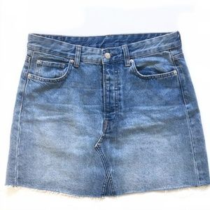 NWOT Jean skirt with Button Fly and Raw Edge Hem
